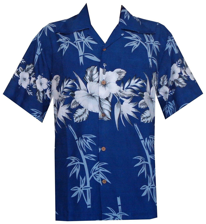 Men Hawaiian Print Shirt Short Sleeve Holiday Beach Party Button Down Blouse