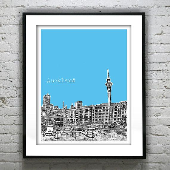 Bridal Shoes Auckland New Zealand: Auckland New Zealand Poster Art Skyline Print Item T2684
