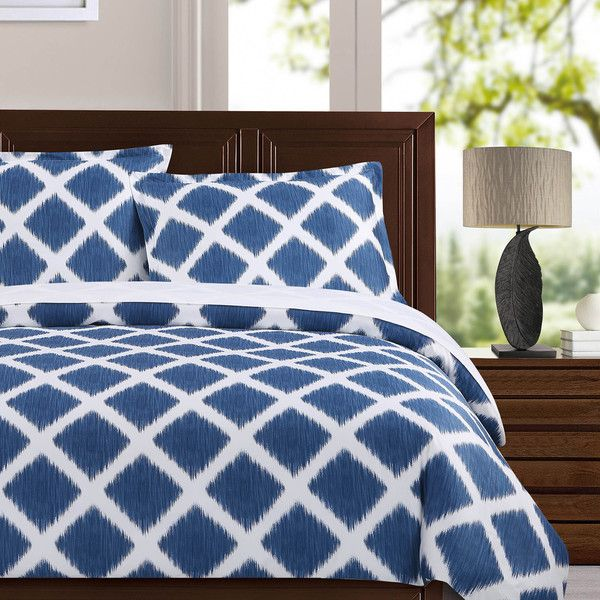Echelon Home Diamond Ikat 3-piece Cotton Duvet Cover Set Overstock