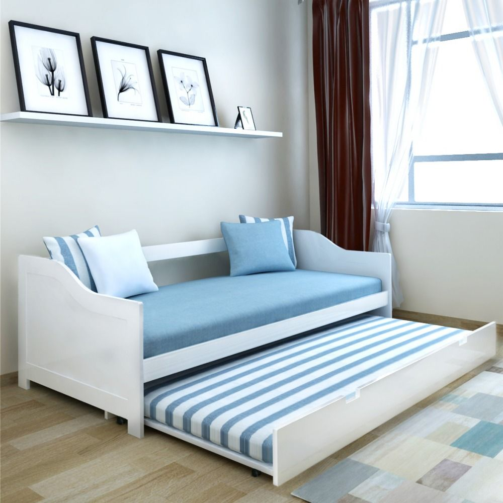White Daybed Single Pull Out Wooden Bed Frame Bedroom Sofa Guests Divan Day  Bed in Home