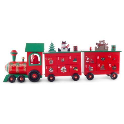Large Red Green Wooden Christmas Advent Train Calendar Christmas