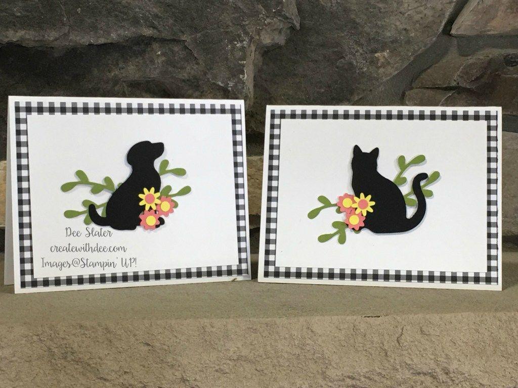 Photo of Tarjetas de nota de silueta de perro y gato | Crear con dee