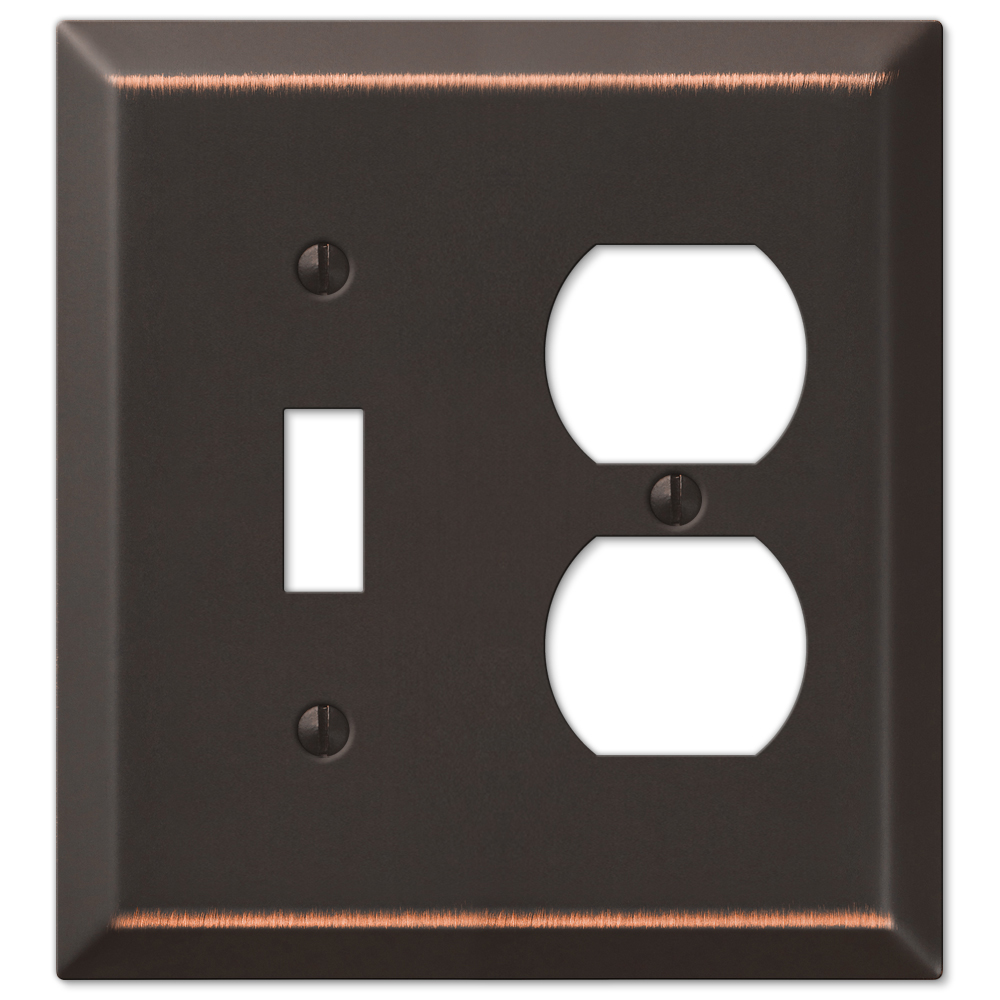 Amerelle Century 1 Toggle Switch 1 Duplex Outlet Combination Wall Plate Aged Bronze Plates On Wall
