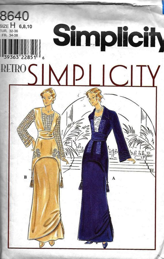 Simplicity 8640 Retro Sewing Pattern Titanic Rose\'s Flying Dress ...