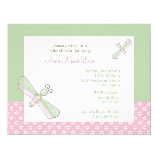 Dragonfly Baby Shower Invitations In Pink Green