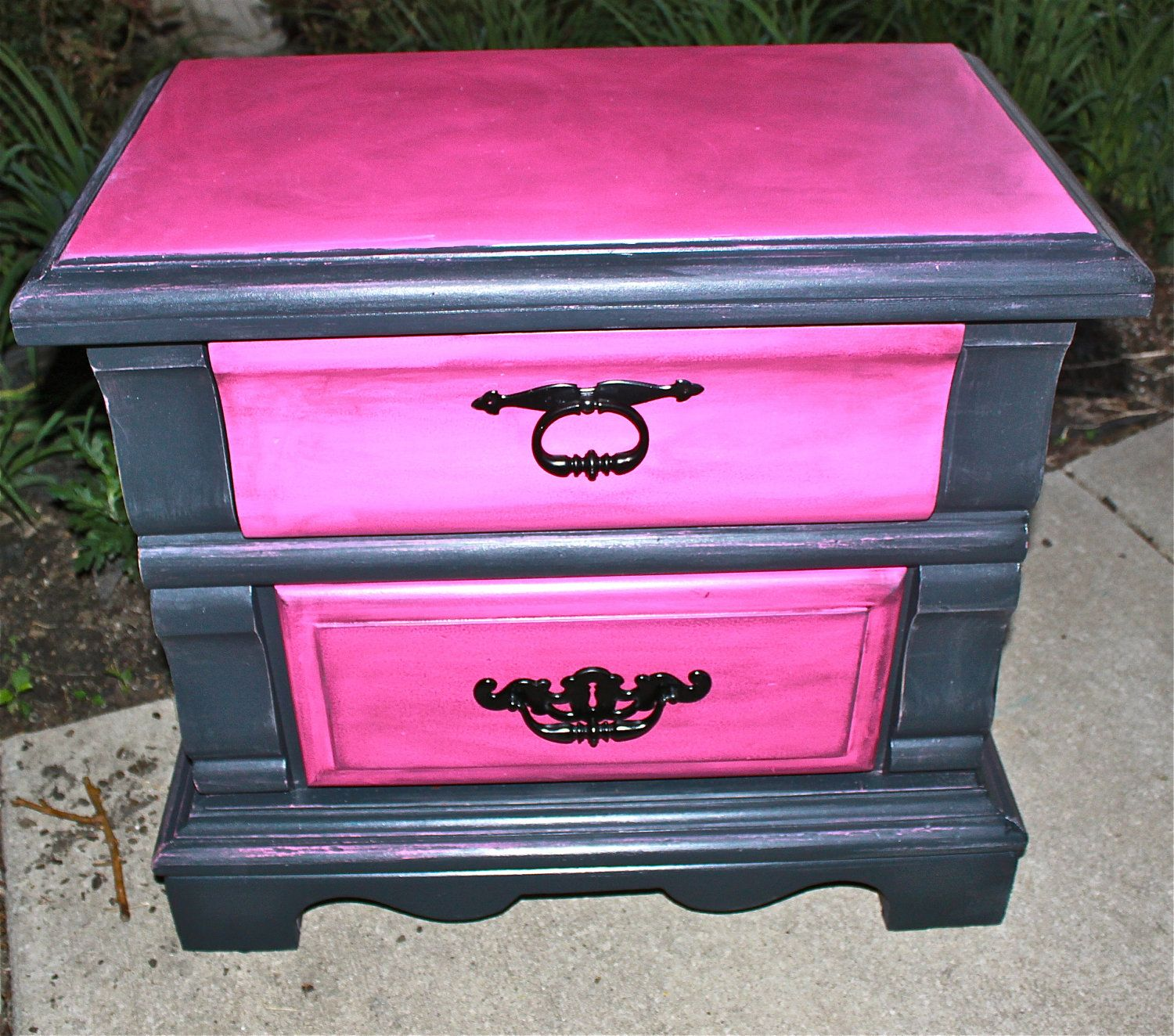 Painting furniture black distressed - Pink Vintage Nightstand Distressed Bedroom By Aquaxpressions 150 00 Black Bedroom Furniturefurniture