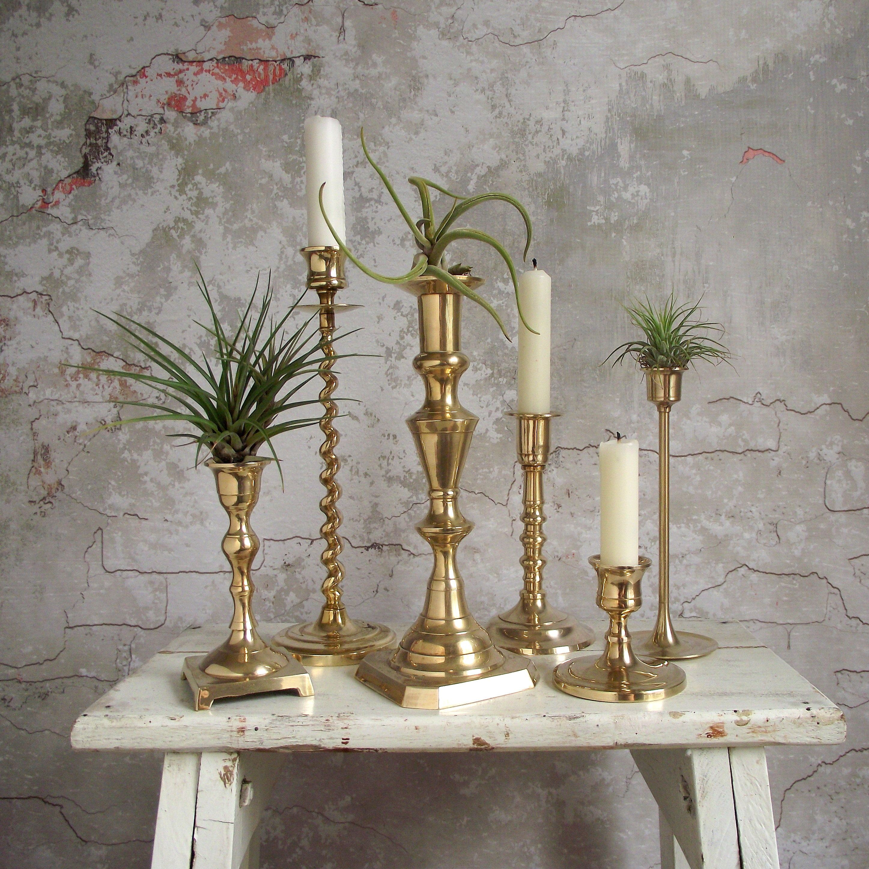 Boho Chic Brass Candlestick Holders Six Mixed Graduated Brass Candleholders For Vintage Mantel Table Or Wedding Decor Candle Stick Decor Brass Candlesticks Brass Decor