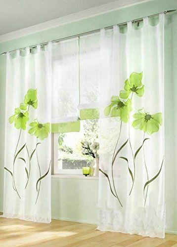 Uphome 1pair Romantic Home Decor Tab Top Flower Voile Sheer Window