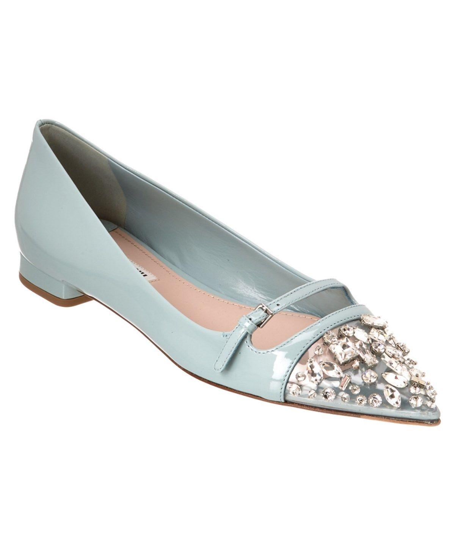 07dbdfcb2a72 MIU MIU Miu Miu Embellished Toe Patent Ballerina Flat'. #miumiu #shoes # flats