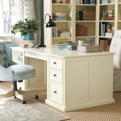 Tuscan Double Pedestal Desk Ballard Designs Or In My Case Maybe 2 Identical Desks With A One Piece Gl Top To Put Photos And Such Under
