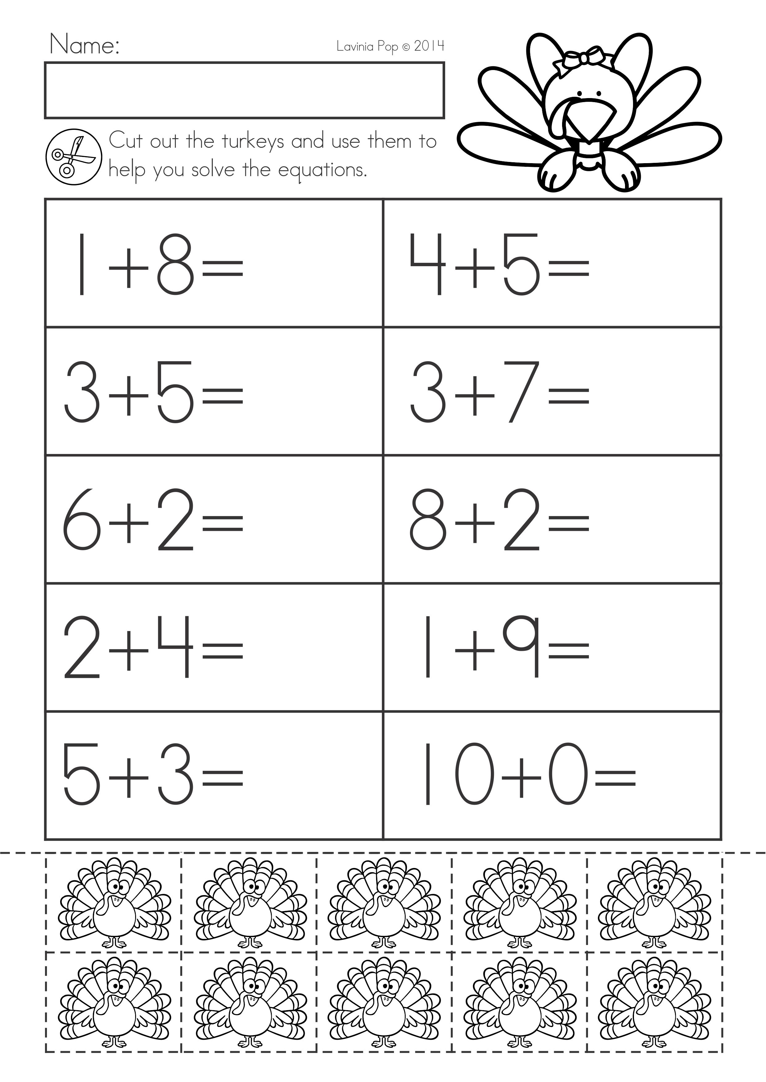 Thanksgiving Math Literacy Worksheets And Activities For Kindergarten Addition Wit Kindergarten Math Worksheets Eureka Math Kindergarten Literacy Worksheets