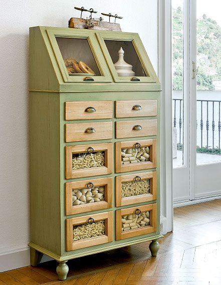 Mueble alacena verde muebles pinterest alacena for Muebles de cocina despensa