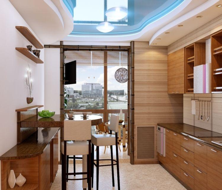 Дизайн интерьера однокомнатной квартиры, проект кухни 33