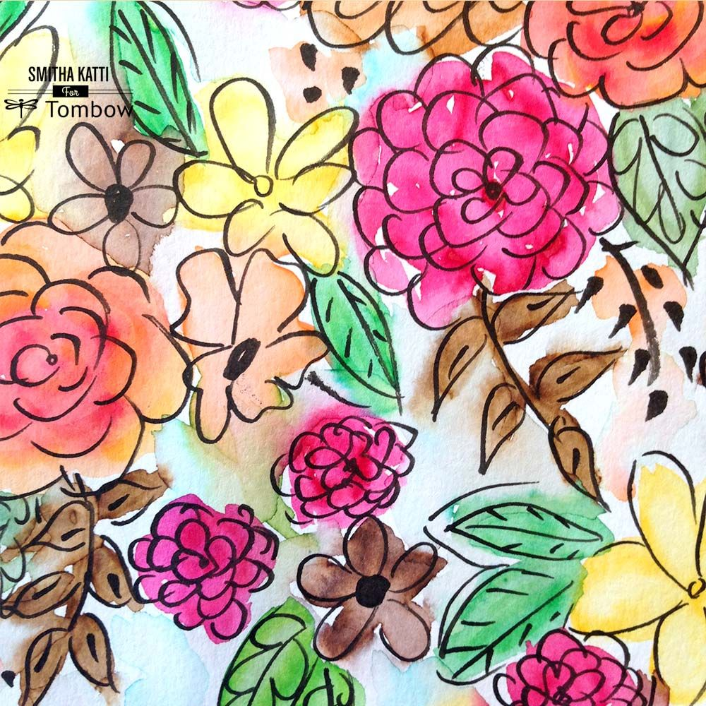 Watercolor Flowers And Paint Brushes: Using Tombow Dual Brush Pens For Watercoloring
