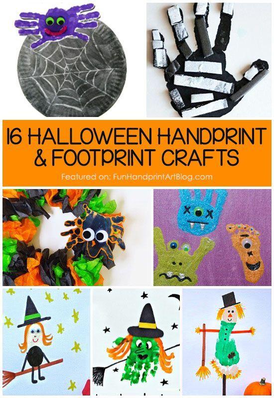 16 Halloween Handprint and Footprint Crafts Footprint crafts - easy homemade halloween decorations for kids