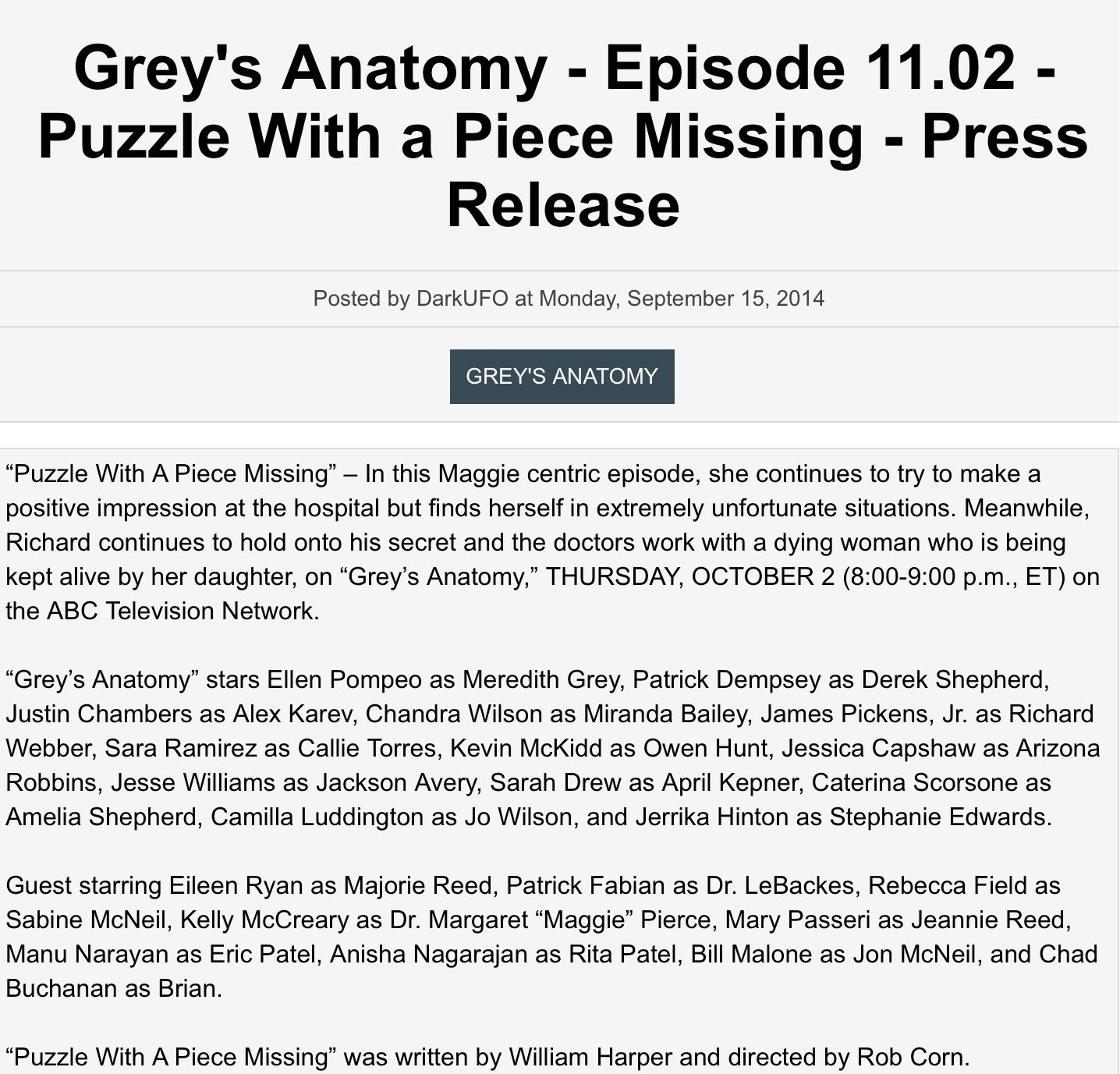 Pin by GreysAnatomy Luver1415 on Grey\'s Anatomy Press Releases 2 ...