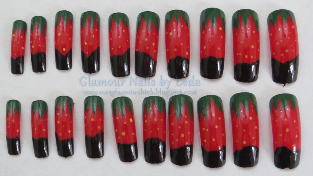 20 full well Long length nail tips Chocolate covered Strawberries ...
