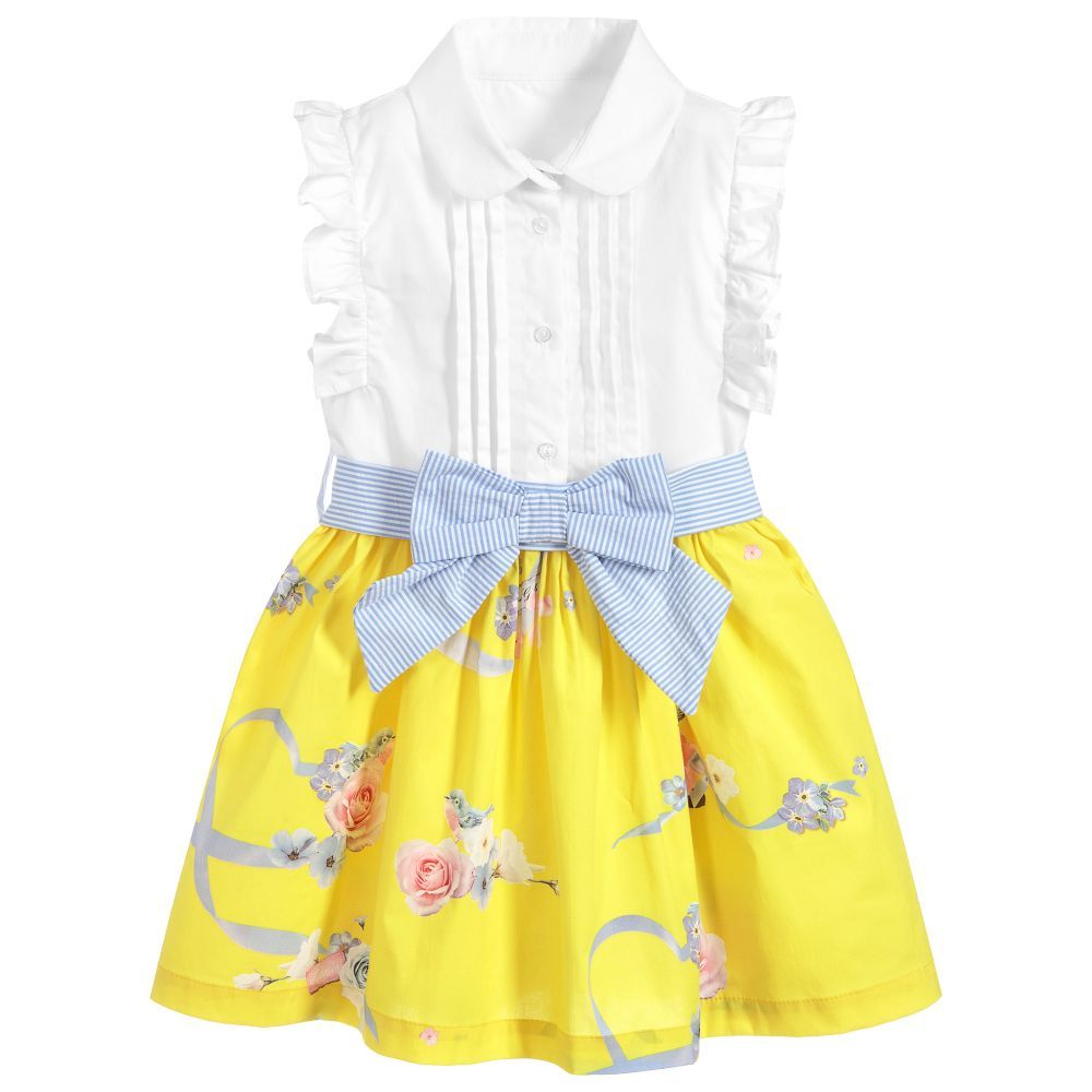974649c1c Girls white and yellow shirt dress from Lapin House, with a pink and blue  floral pattern. Made in lightweight cotton, with a pleated bodice and  ruffles on ...