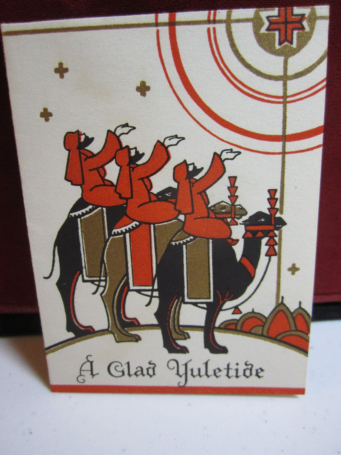 Art Deco Christmas Card 1920's-30's 3 wise men on camels gold gilded. $3.50, via Etsy.