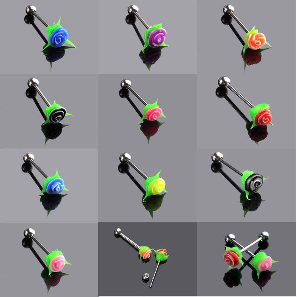 Tongue piercing areas  PCS Silicone Rose Flower Tongue Bars Tounge Barbell Piercing