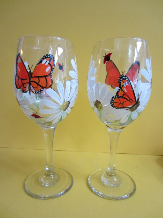 2 Butterfly and Daisy Wine Glasses by EverythingPainted on Etsy, $18.00