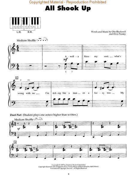 All Shook Up Easy Beginner Sheet Music Beginners Sheet