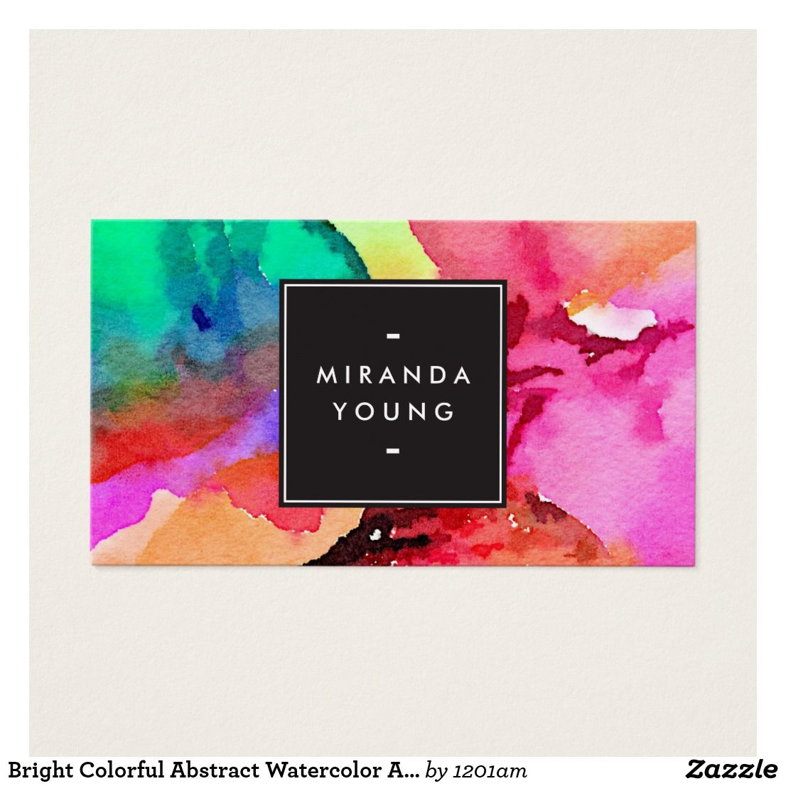 Bright Colorful Abstract Watercolor Art Business Card | Abstract ...