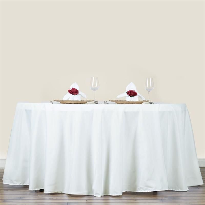 """Ivory 70"""" Round Polyester Tablecloth 