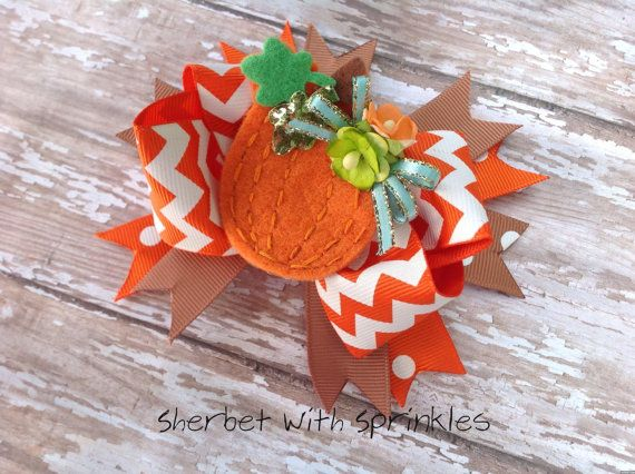 Fall Pumpkin Hair Bow Fall Pumpkin Chevron by sherbetwithsprinkles, $8.50