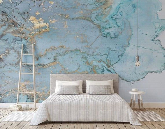 3D Marble-Looking Wallpaper Blue Marble Poster Design Fashion Retro Luxury Blue Gilding Texture TV B