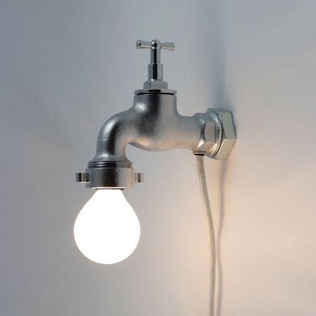 Wandleuchte Im Industriestil Metall Stahl Rohr Wandlampe Glühbirne Hellgrau Silber Wasserhahnoptik