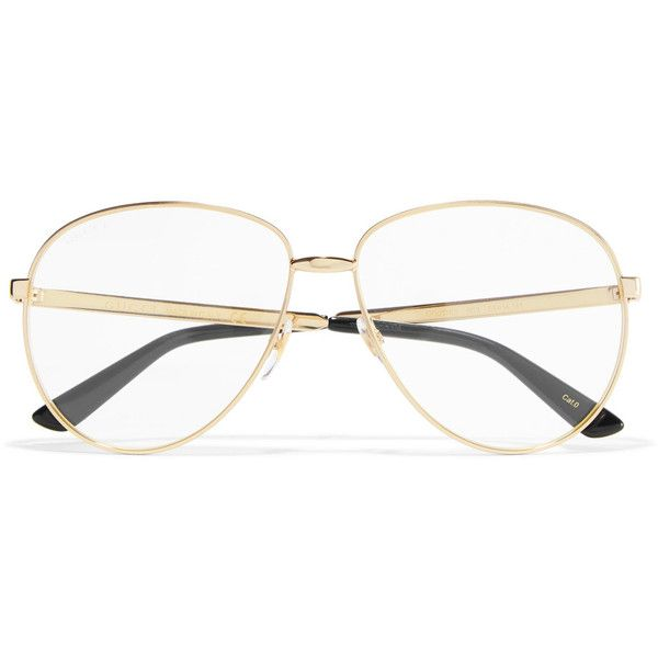 89ae1bc8cf Gucci Aviator-style gold-tone optical glasses ( 320) ❤ liked on Polyvore  featuring accessories