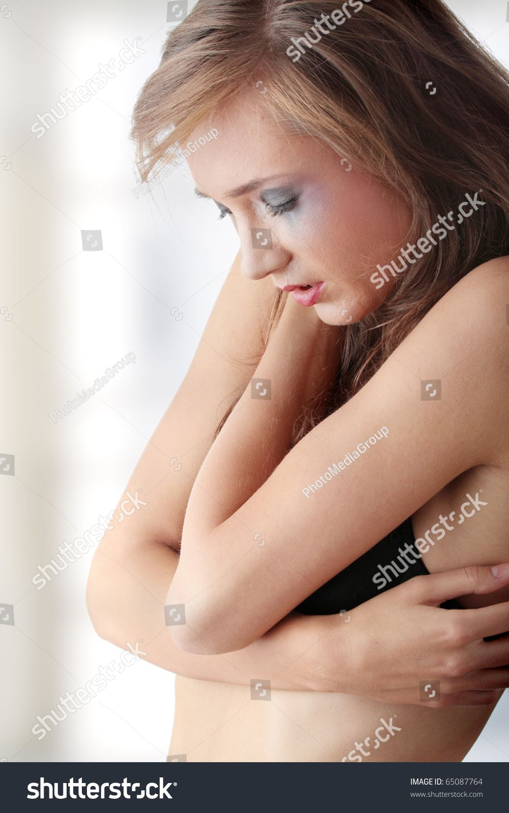 Emotional portrait of abused, crying, beautiful, young ,caucasian woman in underwear - violence concept #Sponsored , #Affiliate, #crying#beautiful#abused#Emotional