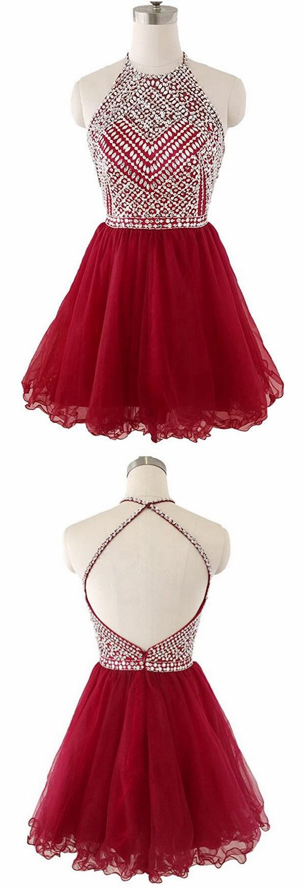 Red homecoming dress with cross back strapshort prom dressback to