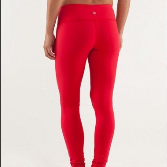 54f006fce84fea Lululemon red wunder under leggings size 4 Luon material leggings, bright  red, reversible. Only difference in 2 sides is placement of lulu logo on  waistband ...