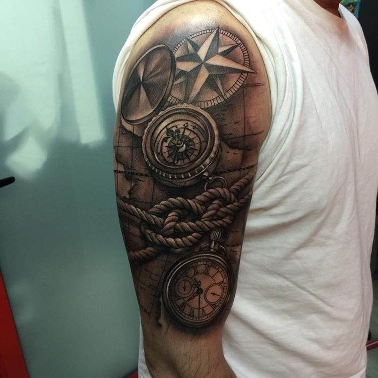 Tatuaje Tattoo Realism Brújula Reloj Awesome Tattoos Watch