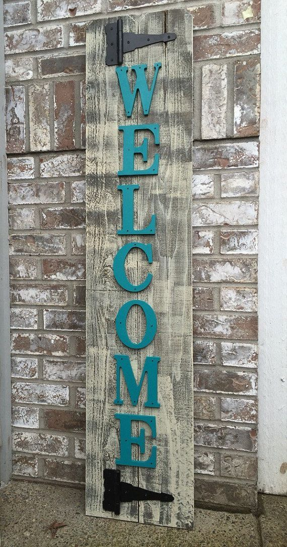 Welcome Sign Decor Custom Distressed Welcome Sign  Teal Welcome Sign  Rustic Welcome Sign Design Decoration