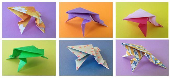 Grenouille sauteuse en origami atelier ducation bricolage pinterest origami - Origami grenouille sauteuse pdf ...