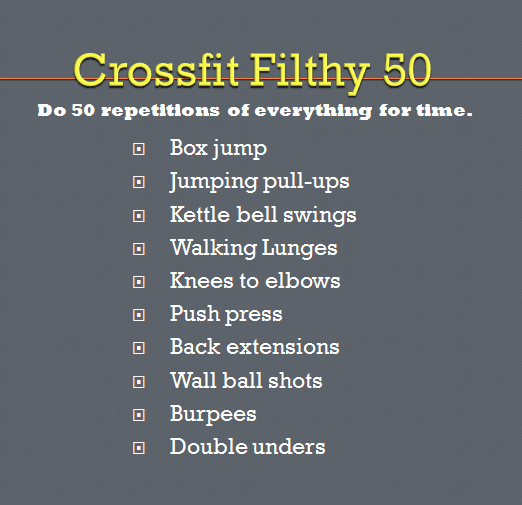 Crossfit Workout Routines: Filthy 50 Http://eatwatchrun.com/2012/09/21/rock-your