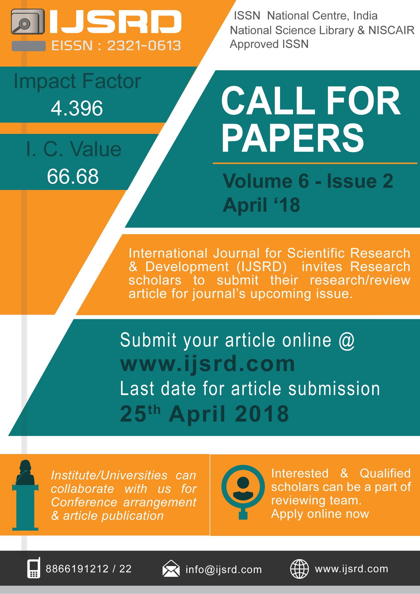 Ijsrd International Journal For Scientific Research And Development International Online Open Access Peer Re Research Paper Engineering Technology E Journals