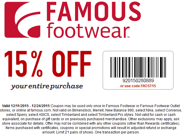 15 Off At Famous Footwear Or Online Via Promo Code Frost15 Shopping Coupons Coding Coupons