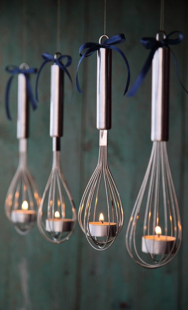 Diy hanging whisk tea light candle holder votive tea for Hanging candles diy