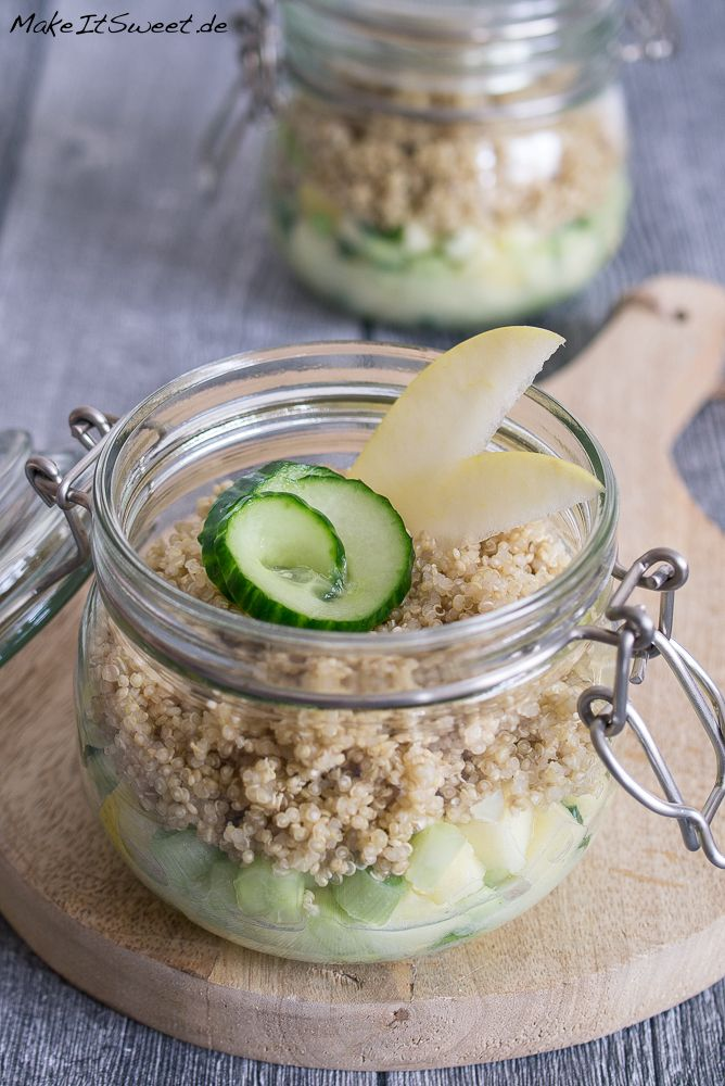 Photo of Quinoa apple and cucumber salad in a glass recipe – MakeItSweet.de