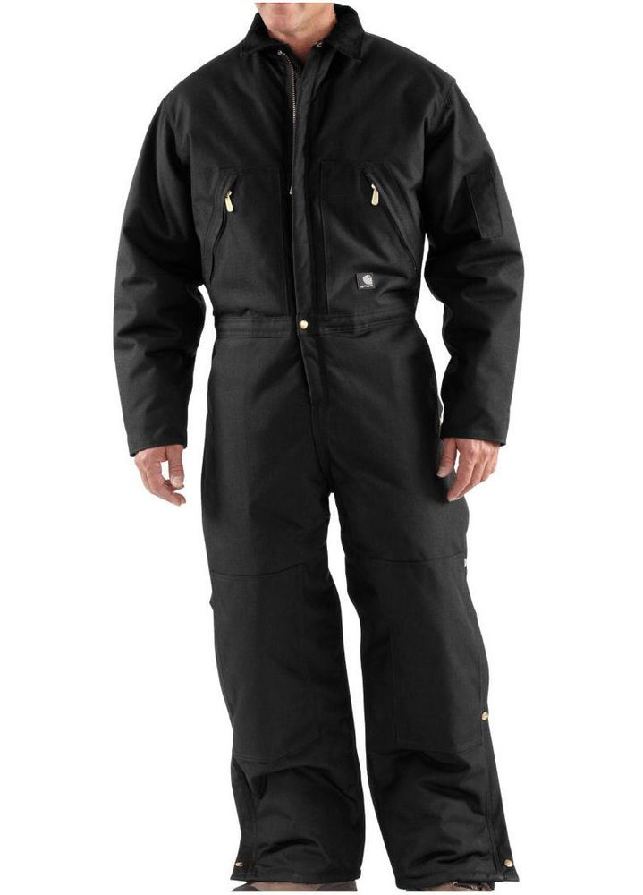 carhartt men s black x06 extreme arctic quilt lined zip on insulated overalls id=51244