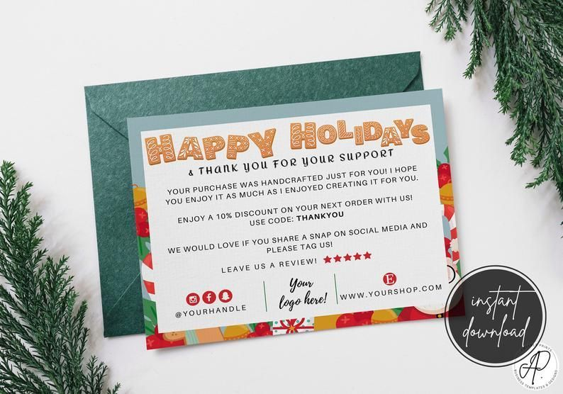 Editable Business Christmas Card Template Personalized Thank Etsy Printable Holiday Card Business Christmas Cards Cute Thank You Cards