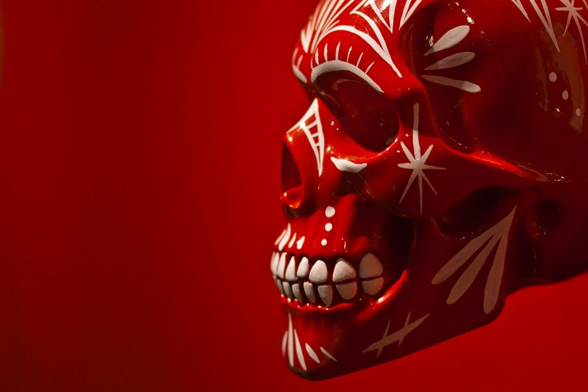 patterned skull paint red like blood background YR061 living room ...