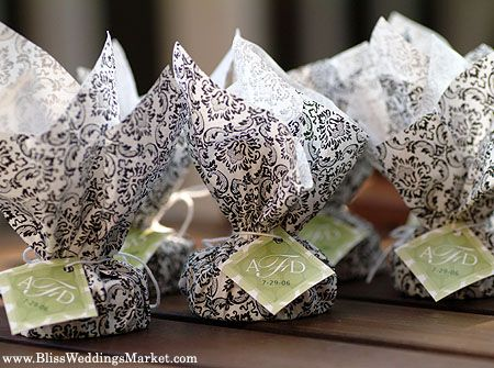 Black And White Damask Wedding Favor Wrapping
