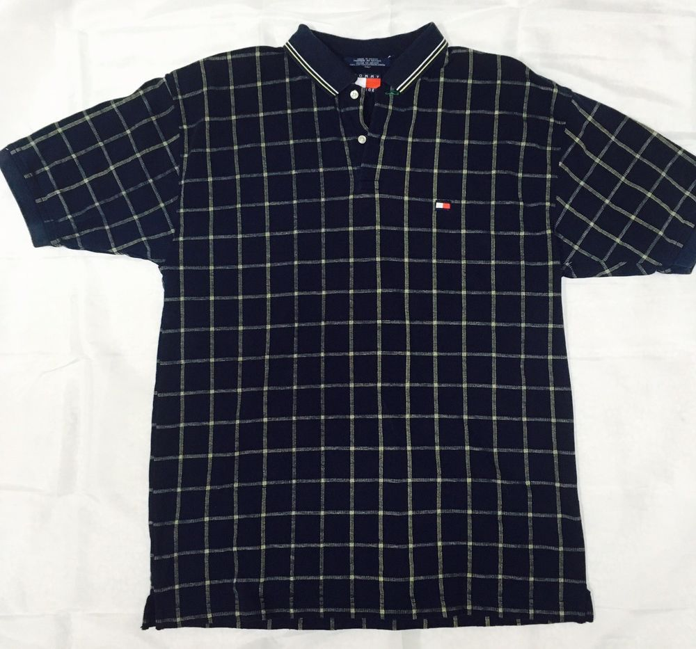 bdcf7a10 VTG Tommy Hilfiger Plaid Polo Golf Casual Shirt Men's Size Large Short  Sleeve #TommyHilfiger #PoloRugby