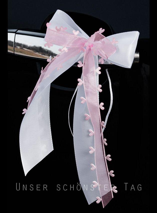3eb574fb1a3ccd 10 x Antennenschleife   Autoschleife Aus Taft- und Organzaband ( mit  Herzchen ) mehrlagig gebundene Schleife. Farbe   weiß-rosa Größe der  Schleife   ca.