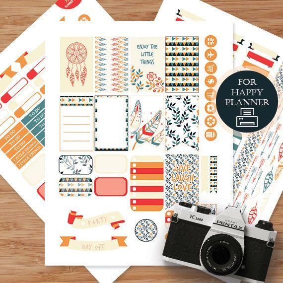Boho 3 Printable Planner Stickers Weekly Kit by AlakazooDesigns